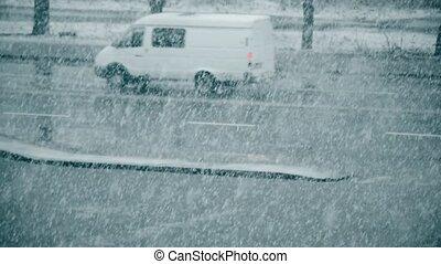 neige, arrière plan flou, couché, tomber, route