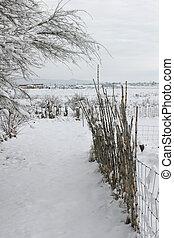 neige, barrière