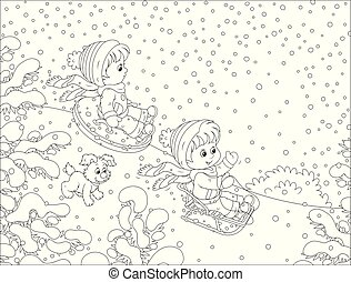 neige, bas colline, petits enfants, sledding