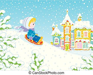 neige, bas, diapo, enfant, petit, sledding