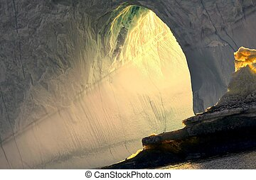 neige, beau, tunnel, image, vue