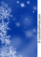 neige bleue, fond, flakes.