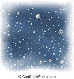 neige bleue, fond, nuit