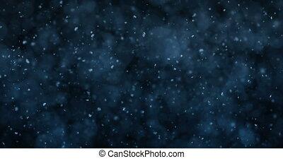neige bleue, mouvement, lumières, bokeh, defocused, fond, tomber, boucle