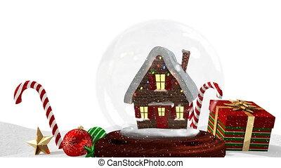 neige, cadeau, neigeux, paysage, animation, mignon, maison, 4k, noël