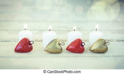 neige, combiné, tomber, décoration noël, bougies