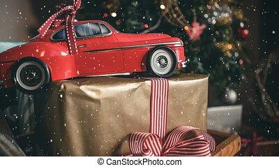 neige, combiné, tomber, noël, modèle, rouges, présent, voiture
