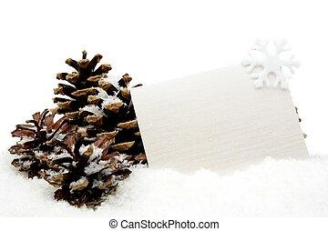 neige, décoration, voeux, noël blanc, carte