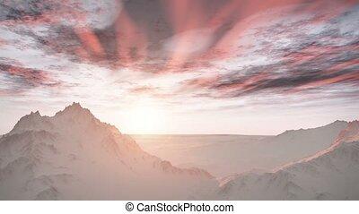 neige, désert, levers de soleil, montagnes