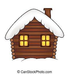 neige, dessin animé, maison