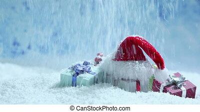 neige, dons, chapeau, santa