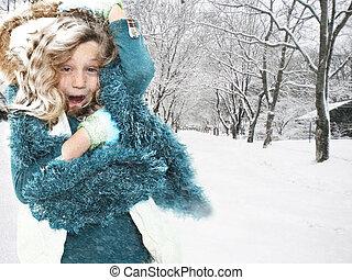 neige, enfant, tempête neige, orage