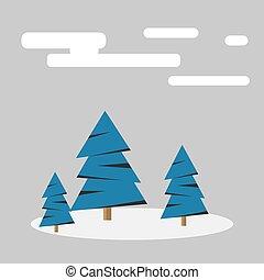 neige, forêt, hiver