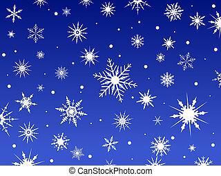 neige, frontière, bleu, 2