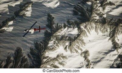 neige, hélicoptère, au-dessus, montagnes