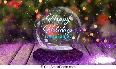 neige, heureux, saisonnier, fetes, salutation, globe