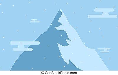 neige, hiver, paysage montagne