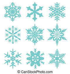 neige, icône, vecteur, flocon