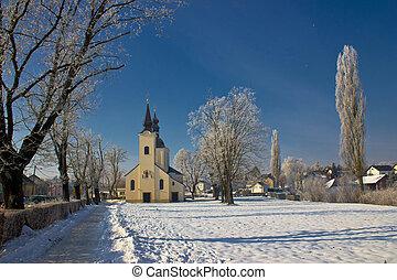 neige, idyllique, -, hiver, église