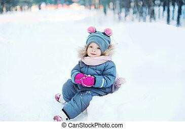 neige, jouer, hiver, jour, enfant
