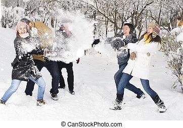 neige, jouer