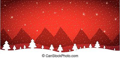neige, ladscape, forêt arbre, hiver