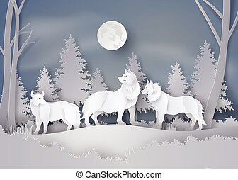 neige, loup, forêt, fullmoon