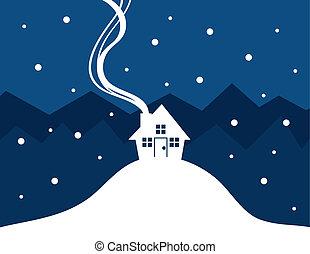 neige, maison, silhouette