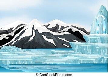 neige, montagne, scène nature