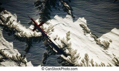 neige, montagnes, hélicoptère, au-dessus