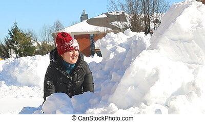 neige, neigeux, gosses, chute neige