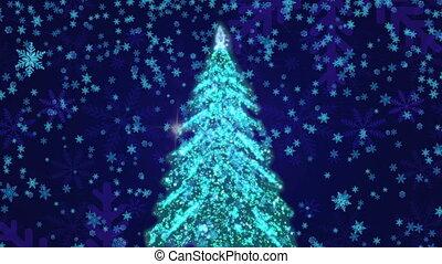 neige, noël, fond, arbre