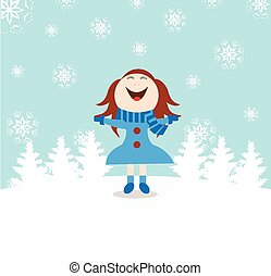 neige, noël, fond, enfant