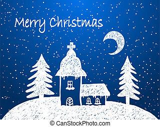 neige, nuit, noël, église