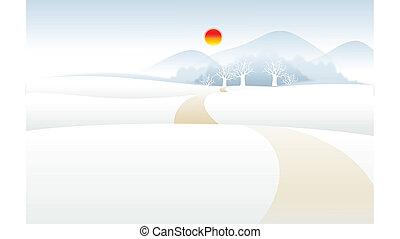 neige, paysage montagne