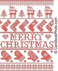 neige, renne, joyeux, ligne, cousu, rouges, inclure, modèle, nordique, scandinave, coeur, style, flocons neige, étoiles, bas, moufle, arbre, orné, noël blanc, hiver
