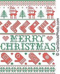 neige, renne, vert, joyeux, cousu, ligne, rouges, inclure, modèle, nordique, scandinave, coeur, style, flocons neige, étoiles, bas, moufle, arbre, orné, noël, hiver