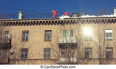 neige, roof., enlever