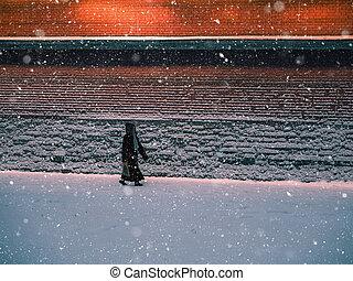 neige, rouges, silhouette, mur, marche homme, soir
