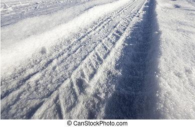 neige, route, sous