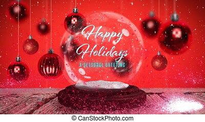neige, saisonnier, salutations, heureux, globe, fetes