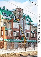 neige, service, nettoyage, nettoie, house., toit