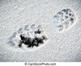 neige, shoeprint