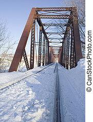 neige, sur, chemin fer, tressle