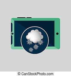 neige, temps, conception, vert, smartphone, nuage, icône
