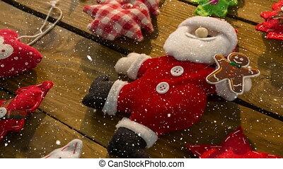neige, tomber, décoration noël, santa