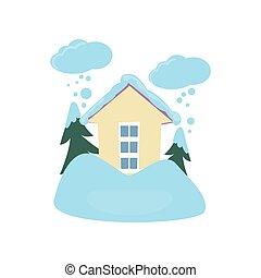 neiger rafale, autour de, maison, isolé, blanc, fond