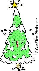 neigeux, arbre, figure, dessin animé, noël, heureux
