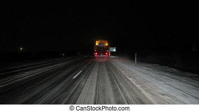 neigeux, conduire, hiver, nuit