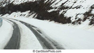 neigeux, conduite, islande, route, montagne